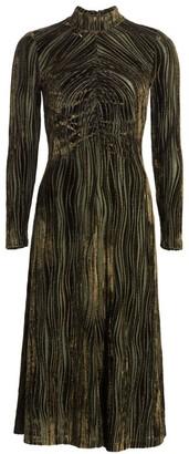 Stine Goya Asher Ruched Velvet Midi Dress
