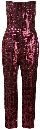 Mason by Michelle Mason Sequined Strapless Jumpsuit
