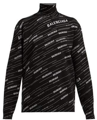 Balenciaga Logo-intarsia Wool-blend Sweater - Womens - Black White