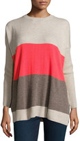 Autumn Cashmere Side-Button Colorblock Cashmere Sweater, Mulch/Solar Flare/Bone