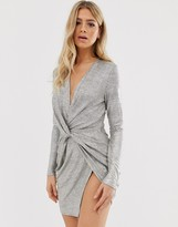 Club L London metallic wrap knot mini dress