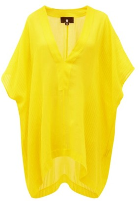 SU PARIS Lamu V-neck Ribbed Cotton Kaftan - Yellow