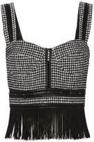 Jonathan Simkhai Studded Tweed Fringe Bustier Top