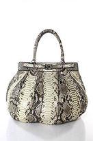 Zagliani Brown Ivory Snakeskin Turn Lock Close Large Satchel Handbag