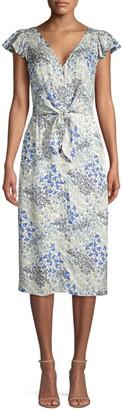 Rebecca Taylor Ava Tie-Front Floral Midi Dress