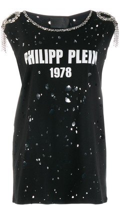 Philipp Plein embellished distressed T-shirt