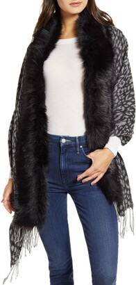 Love Token Faux Fur Trim Knit Wrap