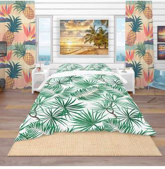Designart 'Bright Green Tropical Leaves' Tropical Duvet Cover Set - King Bedding