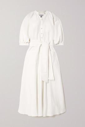 ÀCHEVAL PAMPA Argentina Belted Linen And Silk-blend Midi Dress