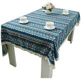 Bohemia Tablecloth - TOOGOO(R)New Tablecloth for Dinner Lace Cloth Bohemia Style Decorative Army Blue Style Table Cloth (6060cm) blue