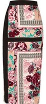 River Island Womens Pink oriental print midi skirt