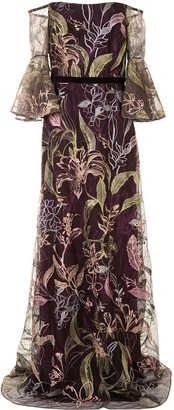 Marchesa Notte Floral Embroidered Off-Shoulder Gown