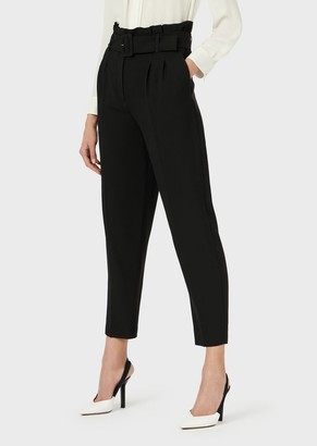 Emporio Armani Cady Crepe Trousers With Pleats And Belt