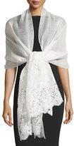 Valentino Lace-Trim Silk-Blend Shawl, Ivory