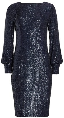 Teri Jon by Rickie Freeman Blouson Sleeve Sequin Shift Dress