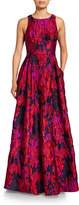 Aidan Mattox Crewneck Sleeveless Brocade A-Line Gown with Pockets