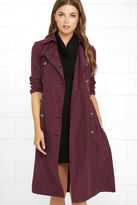 BB Dakota Wellington Wine Red Trench Coat