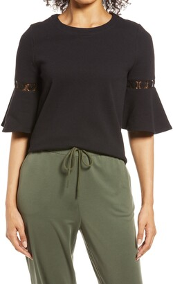 Everleigh Lace Accent Bell Sleeve Cotton Blend Knit Top