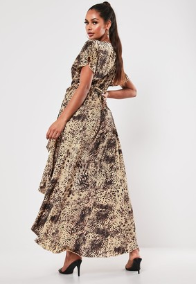 Missguided Brown Leopard High Low Wrap Midi Dress