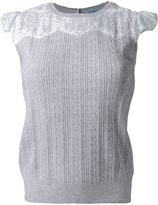 GUILD PRIME cable knit lace panel detail sleeveless knitted top - women - Nylon/Polyester/Rayon - 34