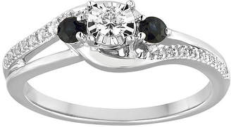 MODERN BRIDE Promise My Love 1/8 CT. T.W. Diamond and Genuine Blue Sapphire Bypass Promise Ring