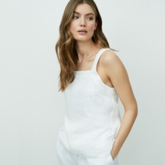 The White Company Linen Cutwork Top, White, 14