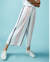 Express wide leg stripe cropped dress pant
