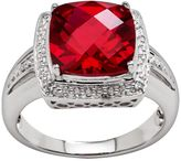 Sterling Silver Lab-Created Ruby & Diamond Accent Ring