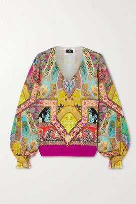 Etro Printed Silk-blend Sweater - Yellow