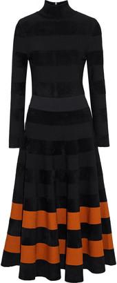 Oscar de la Renta Striped Velour Midi Turtleneck Dress