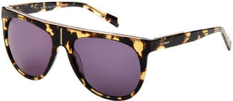 Balmain BL2105B Tortoiseshell-Look Flat Top Round Sunglasses
