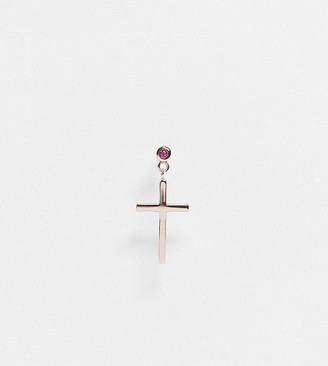 Serge DeNimes sterling silver rose gold plated cross drop earring with red stone