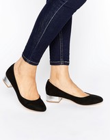 London Rebel Block Heel Ballerina