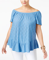NY Collection Plus Size Eyelet Off-The-Shoulder Top