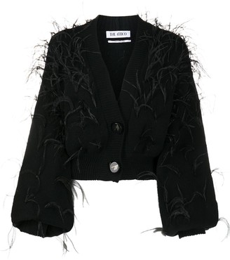 ATTICO Feathered Cropped Cardigan