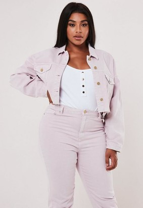 Missguided Plus Size Blush Co Ord Cropped Denim Jacket