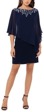 Xscape Evenings Cold-Shoulder Chiffon-Overlay Sheath Dress