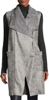 T Tahari Anika Faux-Suede Faux-Shearling Vest, Gray