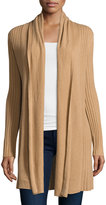 Neiman Marcus Cashmere Open-Front Long Cardigan, Camel