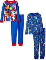 Nickelodeon Boys' Little Paw Patrol 4-Piece Cotton Pajama Set, Marshall Blue