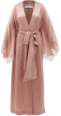 Carine Gilson Lace-trimmed Silk-charmeuse Robe - Womens - Dark Pink