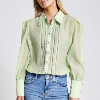 River Island Womens Petite Green embroidered sheer shirt