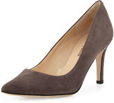 Neiman Marcus Cissy Pointed-Toe Suede Pump, Gray