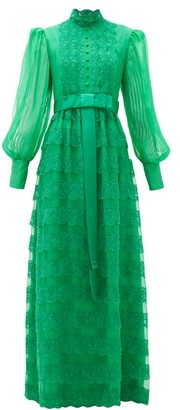 Gucci Lace-trimmed Tiered Georgette Gown - Green