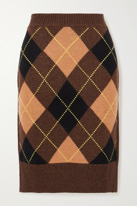 Burberry Ayla Argyle Wool And Cashmere-blend Skirt - Brown