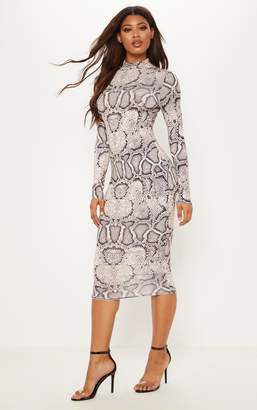PrettyLittleThing Tall Taupe Snake Print Slinky High Neck Midi Dress