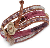 lonna & lilly Gold-Tone Beaded & Threaded Leather Wrap Bracelet