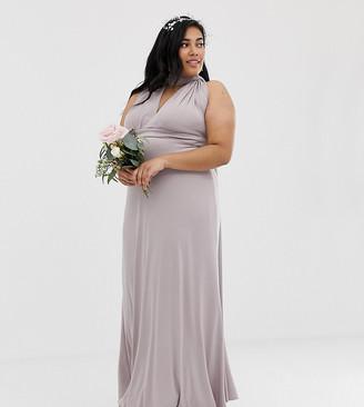 TFNC Plus bridesmaid exclusive multiway maxi dress in grey