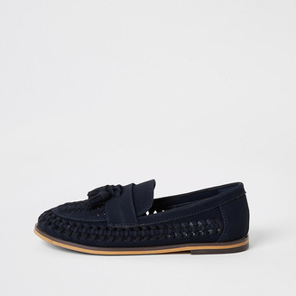 River Island Boys navy woven tassel loafers