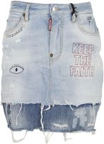 DSQUARED2 Blue Embroidered Distressed Denim Mini Skirt
